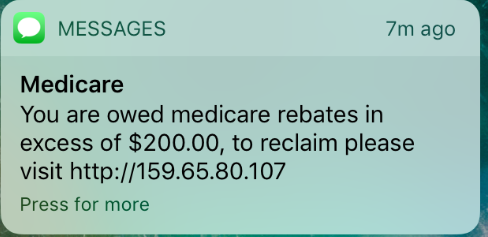 Screen shot of scam text message purporting to be from from Medicare